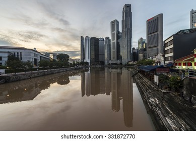 Boat Quay in Raffles Place,  Singapore