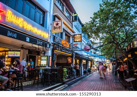 Boat Quay, Singapore - Sep 30 : Street View at Boat Quay during the blue hour on September 30, 2012.