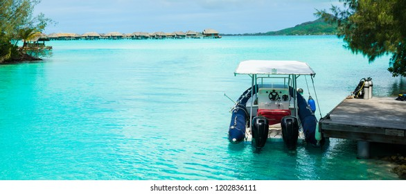 A boat is ready to leave for a diving trip in Bora Bora, Tahiti