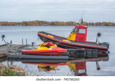 Boat of the rescue service on the lake