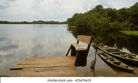 Boat and River at rain forest in Amazonas, Brazil