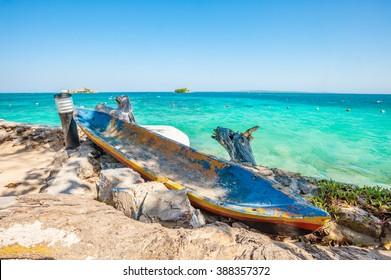 Boat in Rosario island near cartagena, Colombia