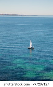 Boat sailing the blue sea