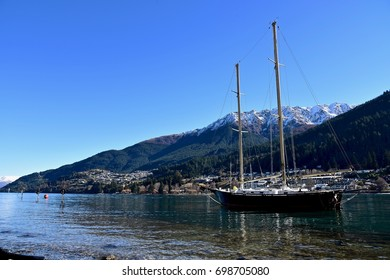 boat sailing in lake Wakatipu, Queenstown, New Zealand