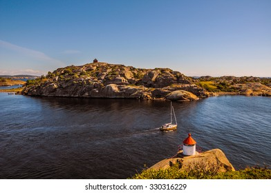 A boat sailing in the North sea by Larvik in Norway.