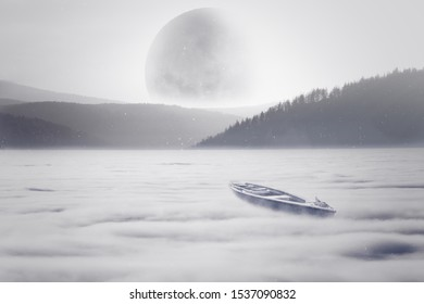 The boat sails on a sea of clouds in the direction of the moon and the mountains. Fantasy landscape in a dream