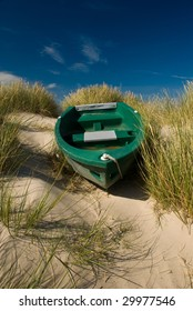 Boat in sand dunes.