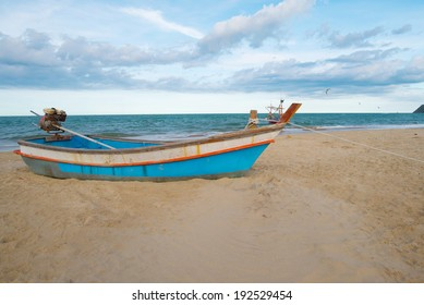 The boat in the sand on beach