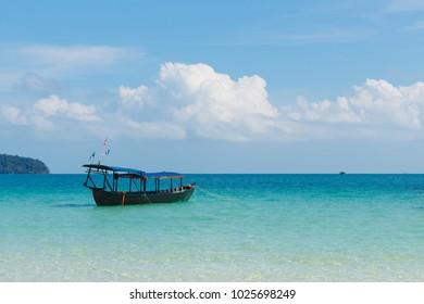 Boat at saracen bay, Koh Rong Samloem, Sihanoukville, Cambodia, tropic island, paradise