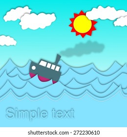 Boat in the sea with blue sky.