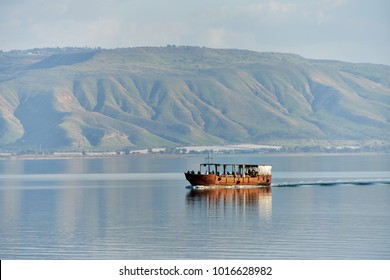 Boat at sea of Galilee