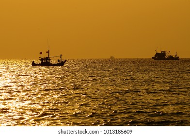 Boat in the sea on sunset.