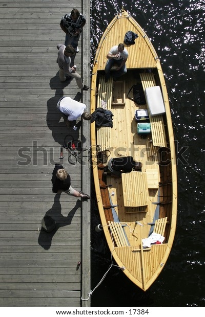 A boat seen from above.