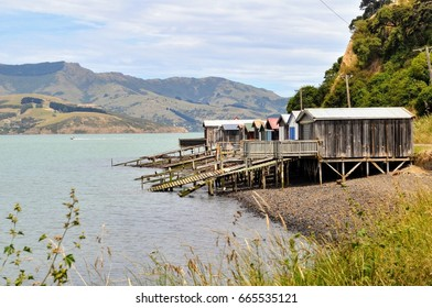 Boat sheds at Duvauchelle in Banks Peninsula, New Zealand