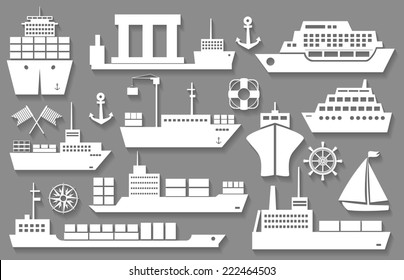 boat and ship white icons with shadows