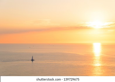 boat silhouette at sunset sea