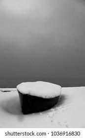 boat in the snow