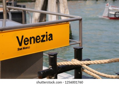 Boat stop in Venice Italy the place where vaporetto stopping near Saint Mark Square