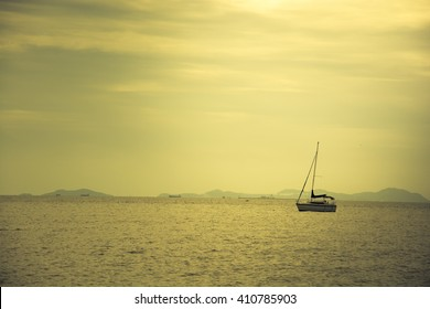 Boat in sunset, color effect