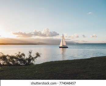 Boat and sunset in Port Douglas, Australia