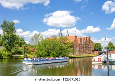 Boat at the Trave near the Holstentor in Lübeck, Germany
