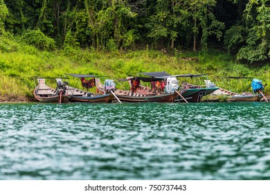 Boat for Travel in Thailand Reservoir