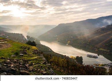 Boat to travel the waters of the Douro River with the vineyards in the background /Douro River/ The Douro River is a tourist attraction where many boats pass, a place known for its wine. Douro 1-12-16