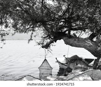 boat trees water landscape blackwhite
