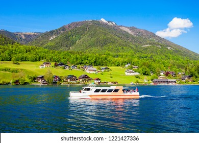 Boat trip on Wolfgangsee lake in Austria. Wolfgangsee is one of the best known lakes in the Salzkammergut resort region of Austria.