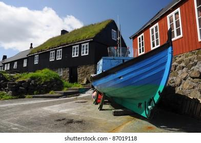 Boat and turf houses in Faroe islands