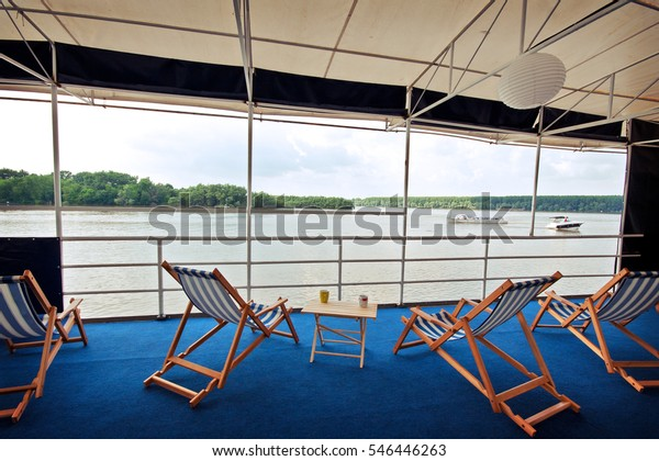 Excellent Boat Upper Deck Blue White Striped Stock Photo Edit Now Caraccident5 Cool Chair Designs And Ideas Caraccident5Info