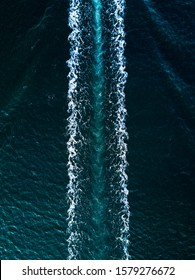 Boat Wake aerial view from above