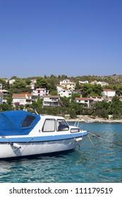 Boat in the water outside Trogir Croatia