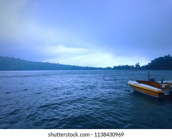 The Boat when The Water Tide At Beratan Lake Bedugul Bali Indonesia