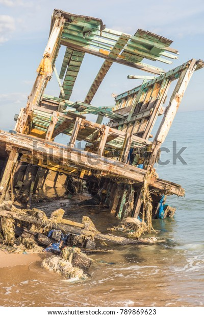 Boat Wreckage Stuck On Beach Very Stock Photo (Edit Now