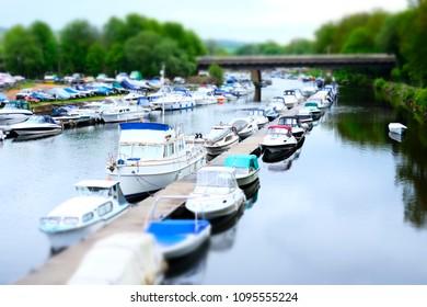 Boat Yacht Sailing Mooring Marina Minature On River Leven Loch Lomond  Balloch Dunbartonshire Scotland UK