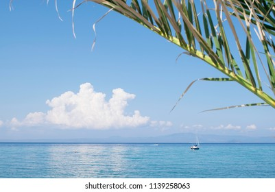 boat and yacht at sea and sunny day