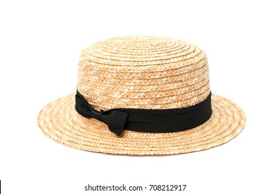 Boater straw hat isolated on white background