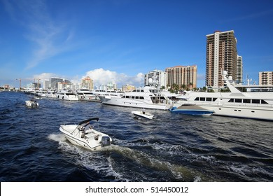 Boaters looking at boats on display at the Fort Lauderdale International Boat Show.