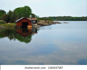 Boathouse by the Baltic Sea in Aland, Finland