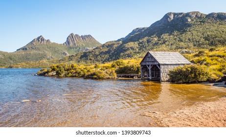 The boathouse at Cradle Mountain and Dove Lake in the Cradle Mountain - Lake St Clair National Park in Tasmania, Australia.