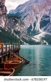 The Boathouse at Lake Braies in Dolomites mountains, Italy