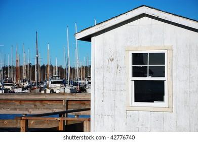 Boathouse on fishing dock