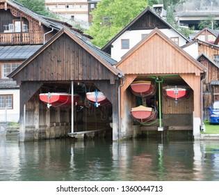 Boathouse on a lake, Austria
