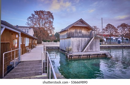Boathouse in Seewalchen at lake Attersee on a quiet winter morning