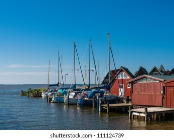 Boathouses in Ahrenshoop (Germany).