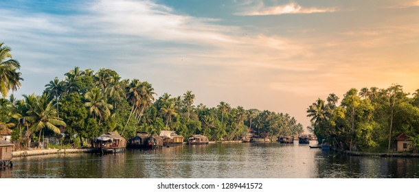Boathouses at alleppey, kerala
