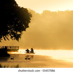 Boating into the Fog at Sunrise