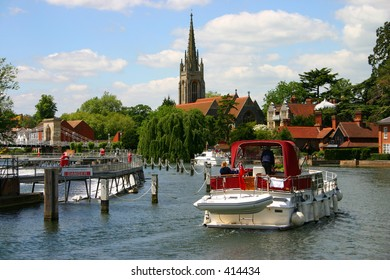 Boating on the Thames at Marlow, Buckinghamshire, England
