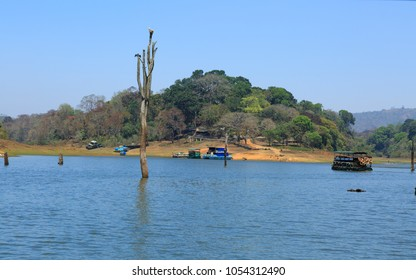 Boating in Periyar Lake, Thekkady. A famous tourist place in Kerala, with submerged trees in the lake surrounded by Periyar tiger reserve national park located in Idukki district, Kerala, India.